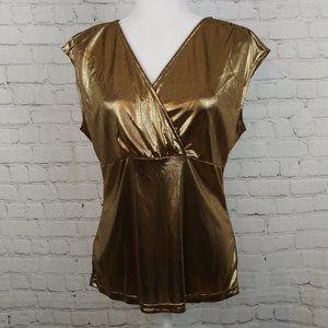 NWT Ann Taylor Women Gold Sleeveless Top Size L